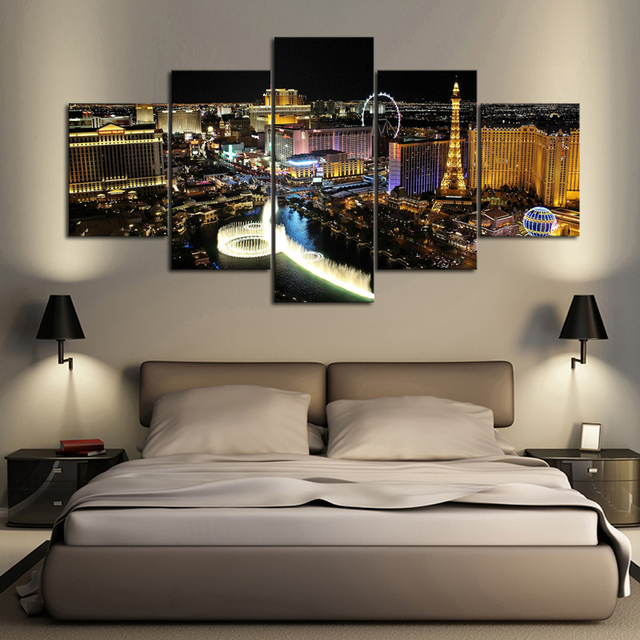 5 Panels Las Vegas City Night Scenery Canvas Print Painting Modern Canvas  Wall Art For Wall