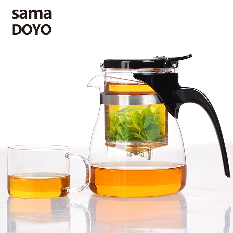 Samadoyo High Grade Gongfu Tea Set Glass Kungfu Teapot Press AUTO OPEN Art Tea Cup With Infuser A 12 600ML Home Elegant Cups