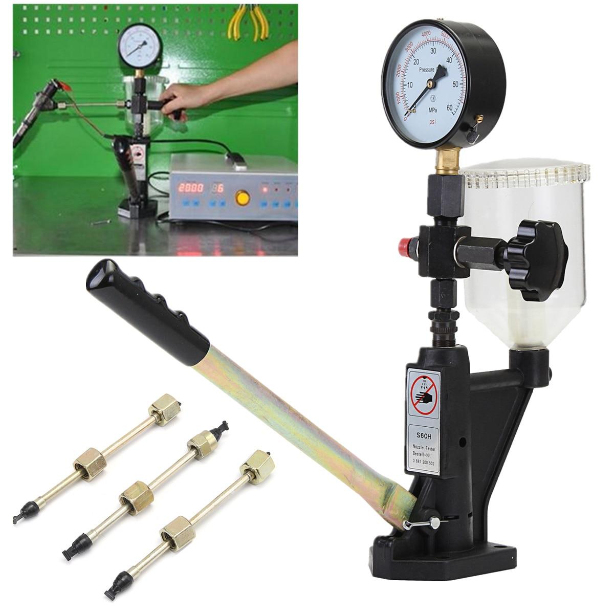 Max 60 Mpa buse Pop-pression injecteur de carburant calibrateur double échelle jauge testeur 0-400 BAR commun Rail outil Diagnostic métal
