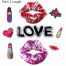 1Pc Lip Patches Iron On Embroidered Sequined Patch Flower Heart Love Applique DIY Sewing Fabric Repair Clothes Stickers