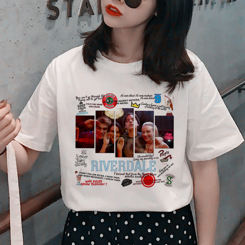 Riverdale Harajuku Snake Print T Shirt Women Southside Serpent Ullzang Cartoon T-shirt 90s Graphic Tshirt Fashion Top Tee Fenale