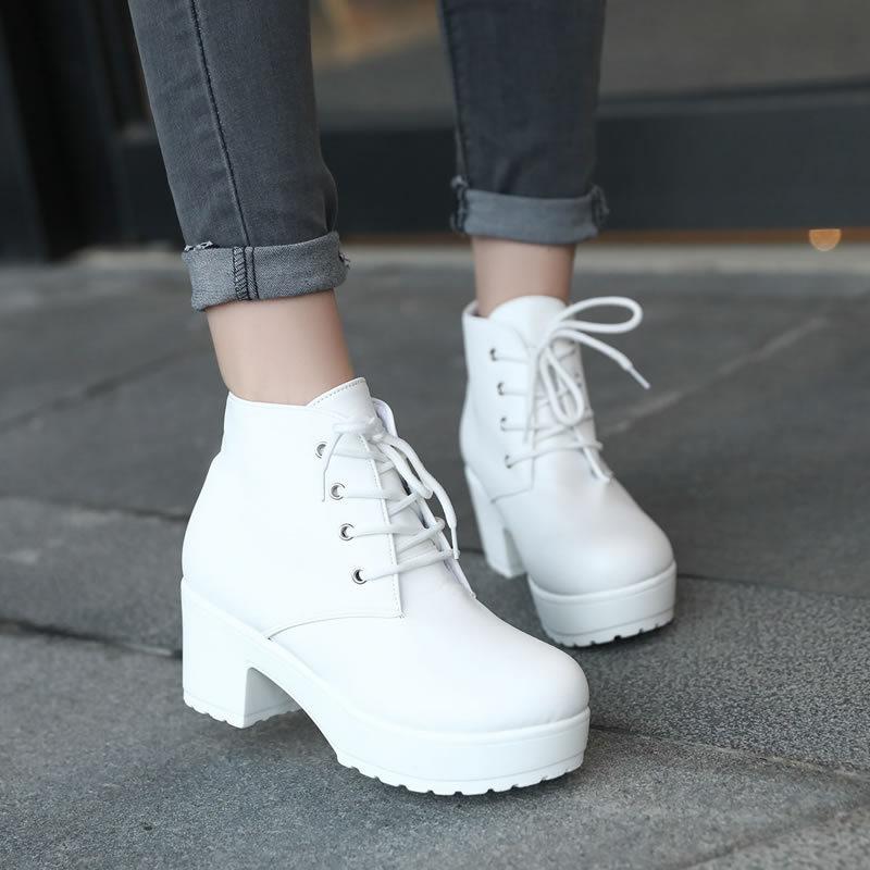 Noir Cheville blanc De Classique Bottes Style Noir Femmes Plate Chaussures forme Hauts Lafeshi Botte Talons Martin Des Moto wfgqFaxHx