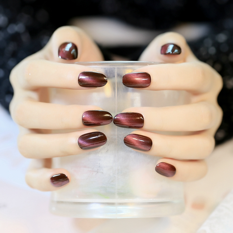 Sexy Red Wine Cat Eyas Design Fake Nails Round Top Nail Art Tips ...