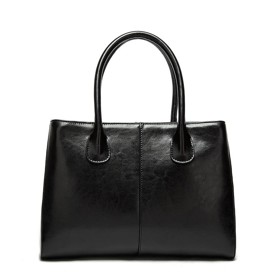 Real Genuine Leather Luxury Women Handbag Shoulder Tote Bag Black Casual Ladies Leisure Crossbody Hand Bags