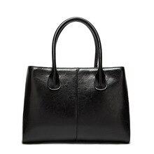 Echte Echtem Leder Luxus Frauen Handtasche Schulter Tasche Schwarz Casual Damen Freizeit Crossbody Handtaschen