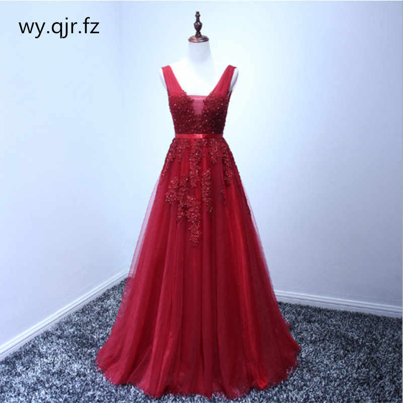 HJZY03 Plus size Wine Red Grey Pink Lace Long Bridesmaid Dresses Wedding  Pary Dress Gown 96ed6b1370e5