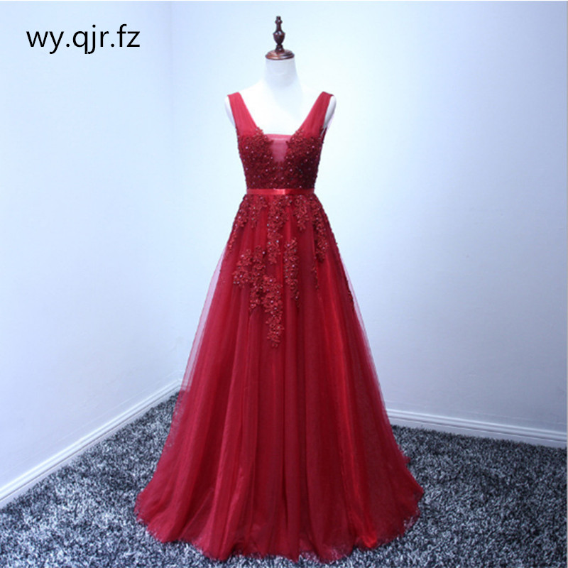 HJZY03#Plus Size Wine Red Grey Pink Lace Long Bridesmaid Dresses Wedding Pary Dress Gown Prom Wholesale Fashion Women Clothing