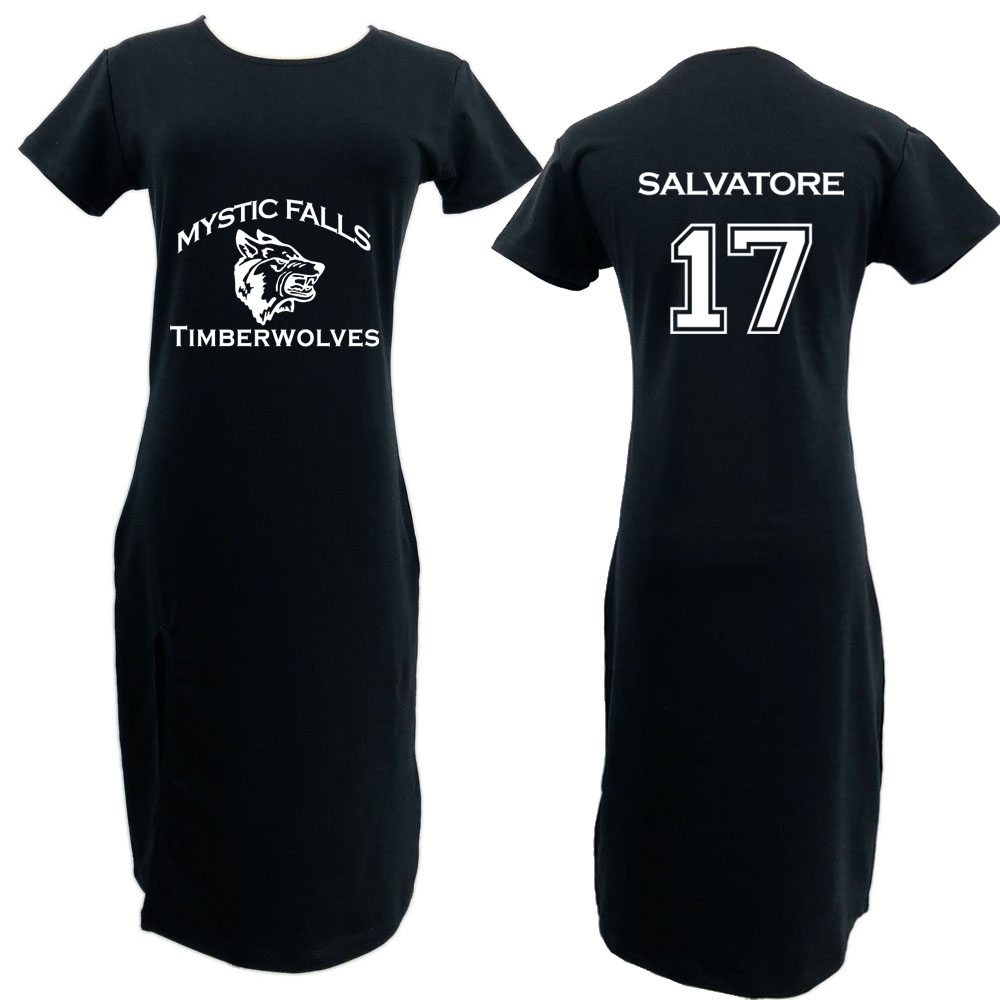 Womens Dress Mystic Falls Timberwolves Vampire Diaries Salvatore 17 90S Girls Sexy Fashion Long Dress Top Custom Logo skirt