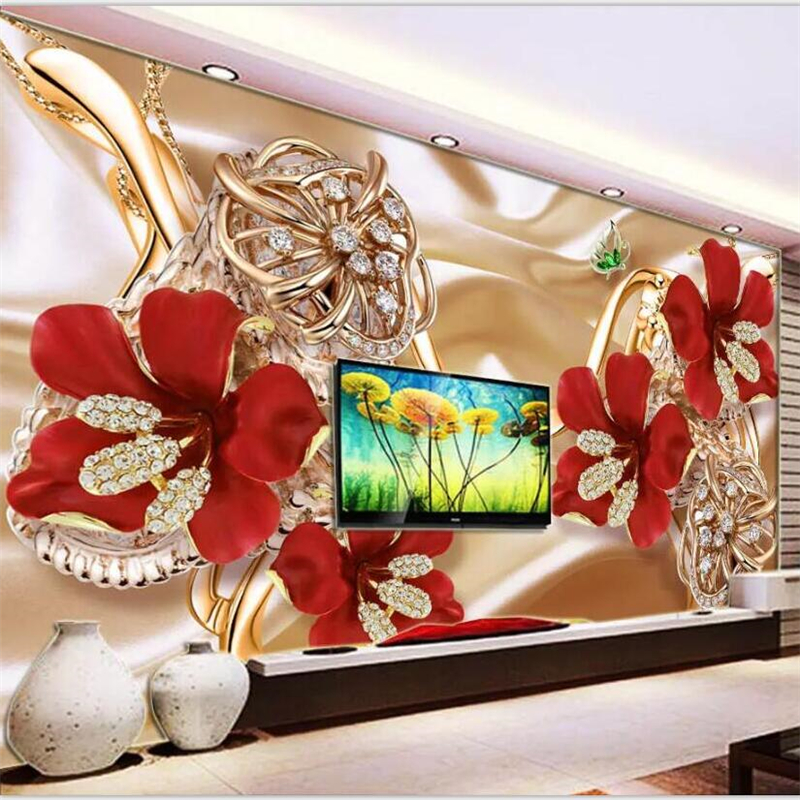 beibehang Wallpaper custom large high-end 3d rich jewelry jewellery flowers TV background wall living room bedroom wallpaper