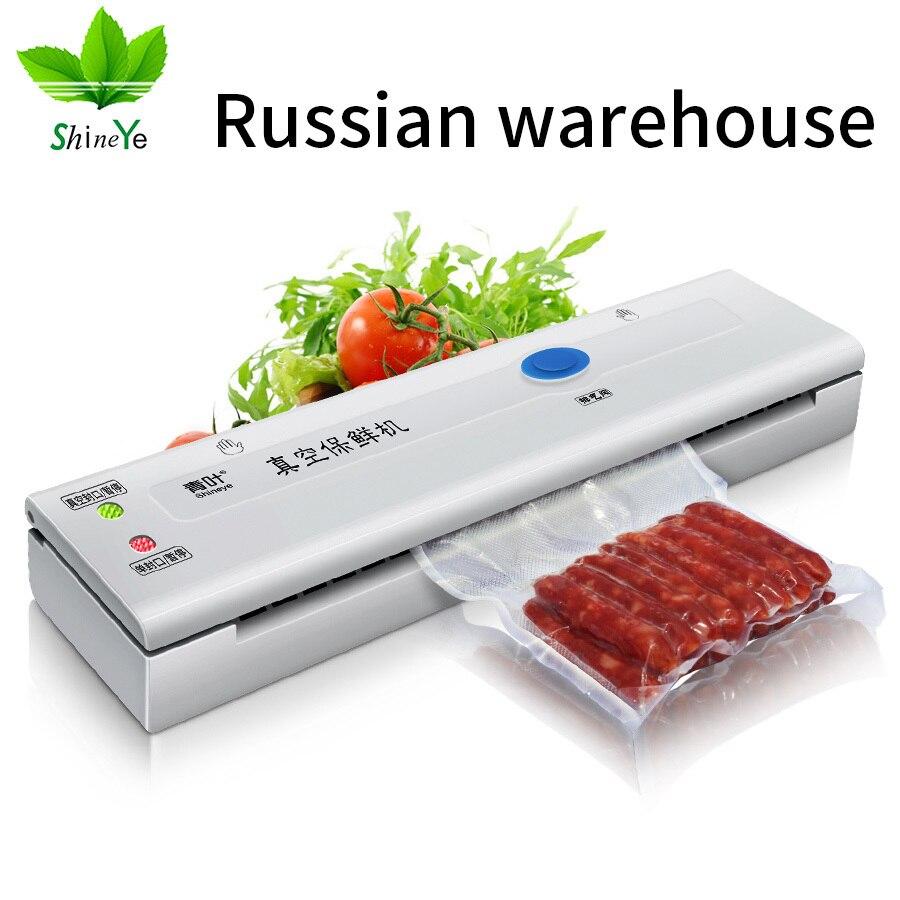 ShineYe Melhor Aferidor Do Saco De Vácuo Máquina De Embalagem A Vácuo Empacotador do Vácuo do Agregado Familiar Saco para Alimentos Recipiente Incluindo 10 pcs Sacos de 108