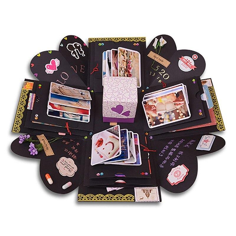 Explosión caja álbum de fotos de Scrapbooking DIY para la boda del día de tarjeta del Día de San Valentín fiesta de cumpleaños sorpresa regalo del Festival