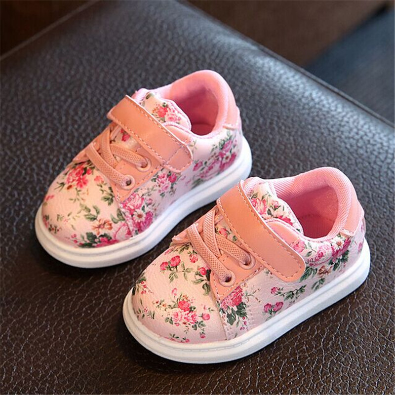 Cute Floral Pattern Design Baby Girls Shoes Comfortable Leather Kids Sneakers