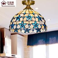 Mediterranean LED Tiffanylampe,Tiffany Mermaid ceiling Lamp AC 110/220V E27 Shell lamp for Home Corridor Bedroom