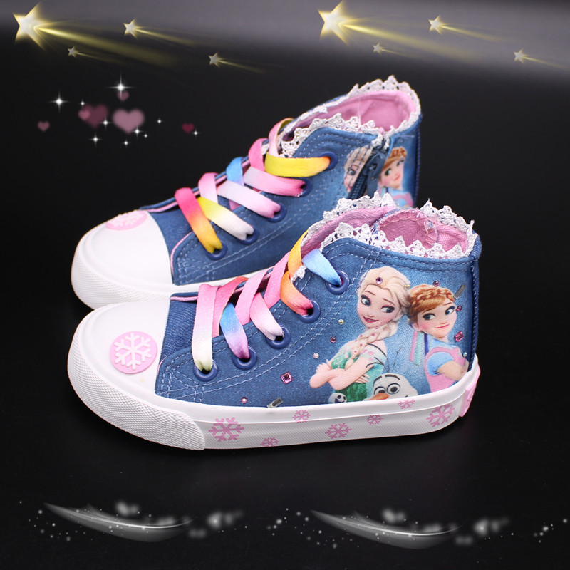 2019 Spring Canvas Children Shoes Girl Breathable Sneaker Shoes Elsa Anna Girls Not Smelly Feet Soft Chaussure/Kids Sneakers