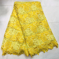 African lace fabric yellow color 2019 High Quality Tulle Lace Fabric French Voile Guipure Lace For wedding dress sewing