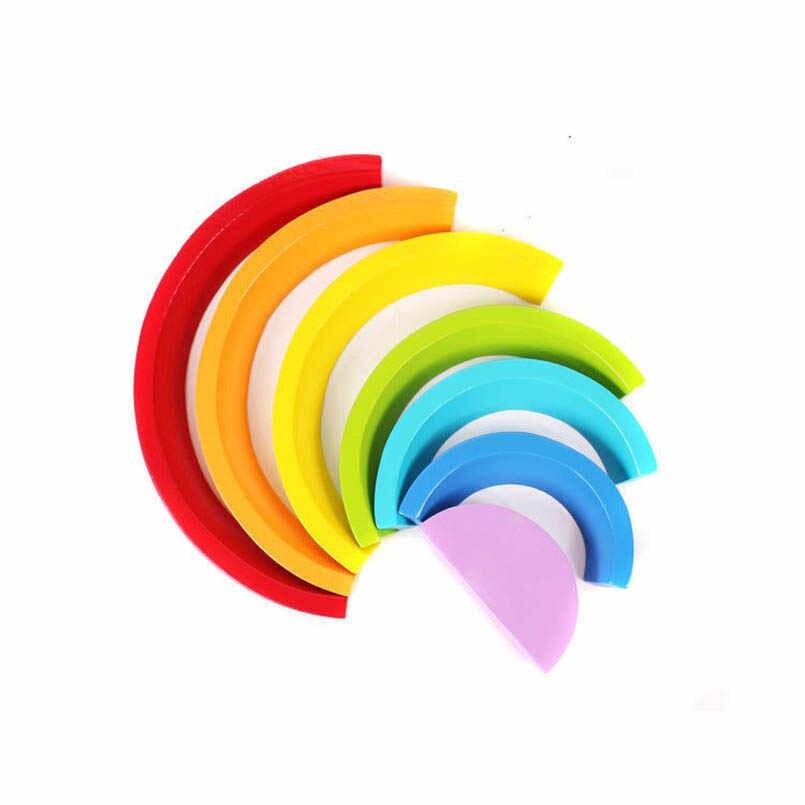 Радужные деревянные блоки Монтессори игрушки в форме арки Красочные Творческие укладки блок Детские Интеллектуальные развивающие игрушки для детей