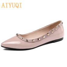 Купить с кэшбэком Women's flat shoes 2019 spring new women's wedding shoes genuine leather , plus size 41 42 fashion red rivet pointed shoes women