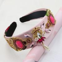 새로운 2018 핑크 레이스 선조 세라믹 다채로운 크리스탈 보석 꽃 바로크 크라운 헤어 밴드 매력 머리띠 넓은 진주 머리 보석