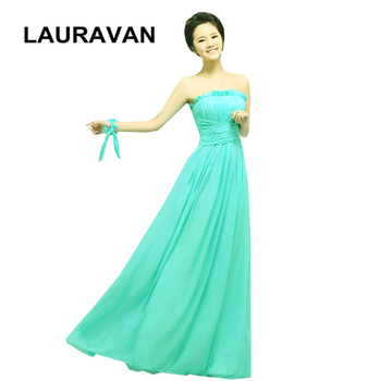 green floor length party long turquoise beautiful women chiffon material strapless custom made evening dresses 2020