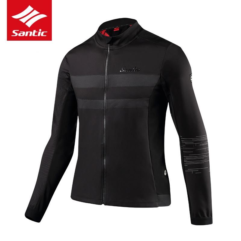 Men Santic Cycling Jacket 2018 Bike Hiking Clothing Autumn Winter Fleece Windproof Mtb Road Bicycle Jacket Thermal Long Sleeve men fleece thermal autumn winter windproof cycling jacket bike bicycle casual coat clothing warm long sleeve cycling jersey set