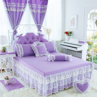 100%Cotton purple Bed Skirt Princess Bedding with Lace Ruffle Bed Sheet for1.2m/1.5m/1.8m/2m Bed Bedspread Solid Color Bedskirt