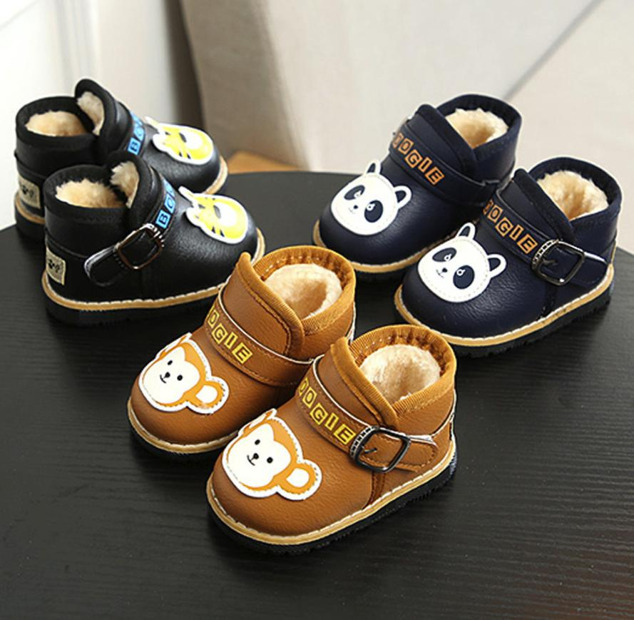 Baby Warm Infant Boys Girls Martin Cartoon Leather Sneaker Kids Casual Shoes Newborn Shoes Winter NO1