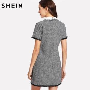 Image 2 - SHEIN Arbeit Kleid Frauen Elegante Schwarz und Weiß Kurzarm Bestickt Kontrast Kragen Fringe Spitze Trim Hahnentritt Kleid