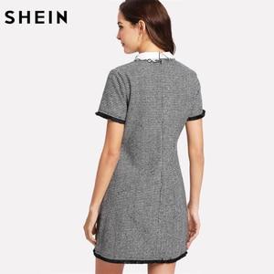 Image 2 - Shein trabalho vestido feminino elegante preto e branco manga curta bordado contraste colarinho franja rendas guarnição houndstooth vestido