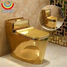 Художественный Гладкий Золотой Цельный унитаз сифон смывание s-ловушка напольный роскошный вилла ванная комната сиденье Туалет