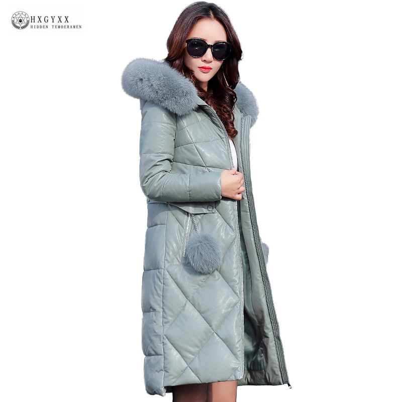 New Faux   Leather   Jackets Thick Warm Winter Coat Women Real Fox Fur Collar Pu   Leather   Coat Plus Size 4XL Wadded Outerwear OK1282