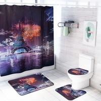 4PCS Paris'Tower Patterns Paris night scene Bathroom Shower Curtain Non Slip Toilet Polyester Cover Mat Set Shower Curtain