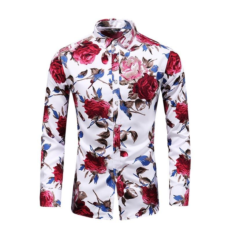 2019 New Autumn New Long Sleeve Flowers Rose Shirts Plus Size 5XL 6XL 7XL Button Down Social Hawaiian Floral Shirt