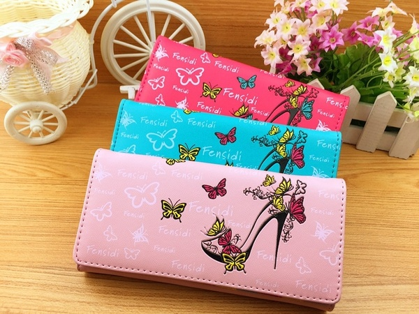 Butterfly Woman Purae Clutch Wallets Lady Coin Purse Cards Holder Bag New Women Wallet High Quality Smooth PU Leather BAOK-4fe7 2016 brand designer women wallet bags pu leather clutch purse lady short handbag bag for pattern coin woman purse