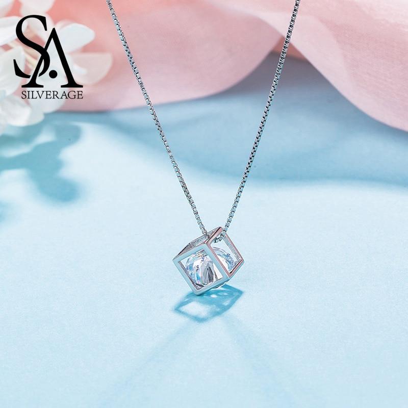 SA SILVERAGE 925 Sterling Silver Umjetno drago ogrlice Trg Privjesak Ogrlica za žene Nakit Trendy Chain Ogrlica