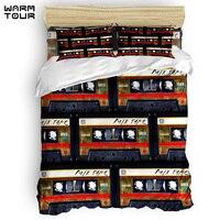 WARMTOUR Duvet Cover Retro Cassette mix tape Duvet Cover Set 4 Piece Bedding Set For Beds