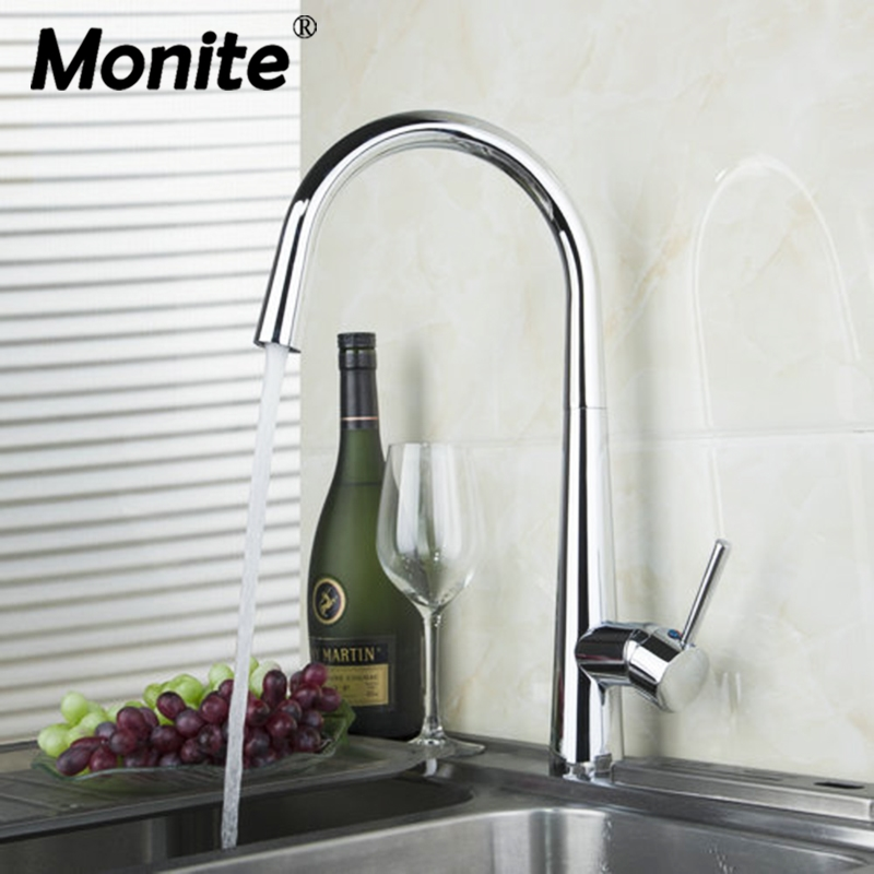 Polished Chrome Kitchen Faucet Swivel 360 Deck Mounted Single Hole Water Mixer Tap Cozinha Torneira kitchen faucet swivel antique bronze sink faucet brass material cozinha torneira deck mounted single hole faucets mixer tap