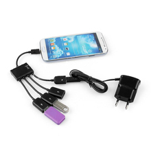 4 порта usb-хаб микро Зарядка OTG кабель разветвитель Разъем для смартфонов планшетных ПК QJY99