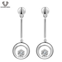 DOUBLE R 0 02ct Natural White Diamond Earrings Women Round Solid 925 Silver Long Drop Earrings