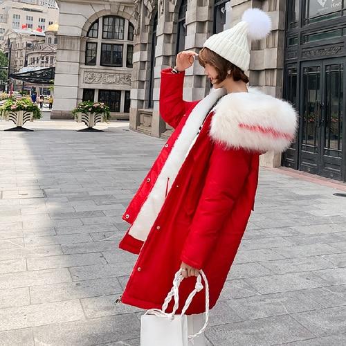 2019 kurtka zimowa kobiety pogrubienie bawełniane watowane kurtki Plus rozmiar kobiet płaszcz moda duże futro kołnierz długie parki z kapturem Mujer w Parki od Odzież damska na  Grupa 3