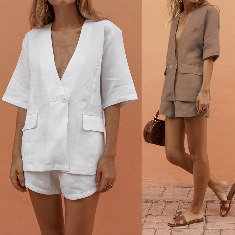 ZANZEA 2019 Casual Blazer Shorts Pants Fashion Women's Suit Summer Office Lady Button Jackets Suits Woman Tunic 2 Pieces Set