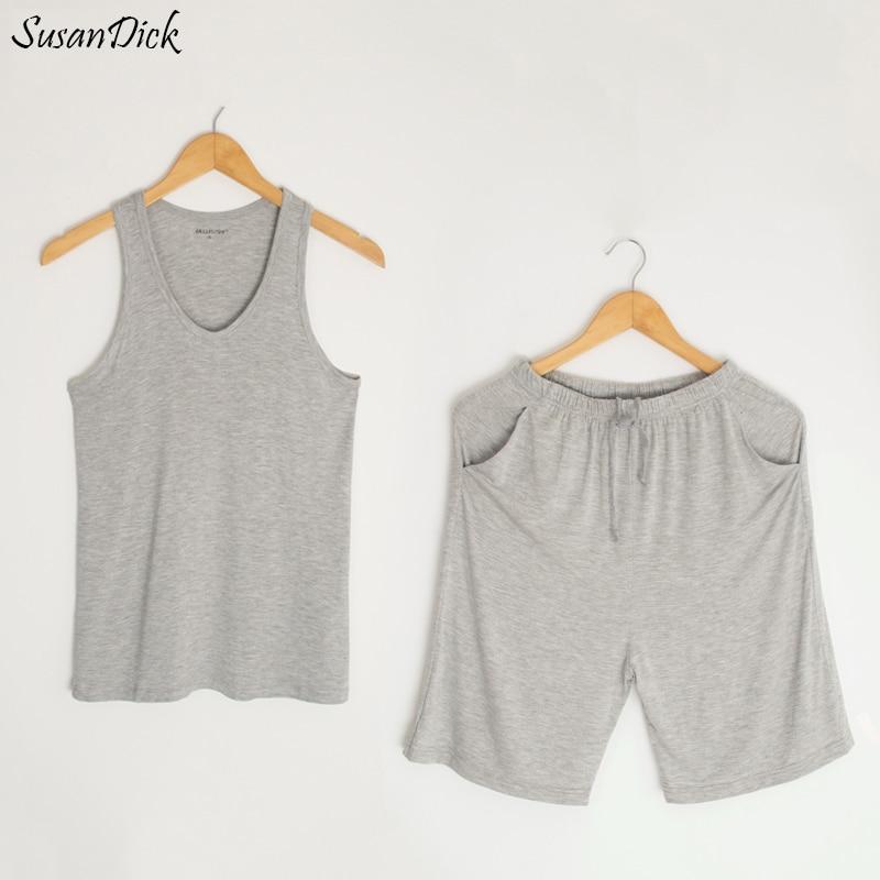 Susandick Pajamas Men Sleeveless Shorts-Set Sexy Summer Soft Modal Hoody-Tank High-Quality