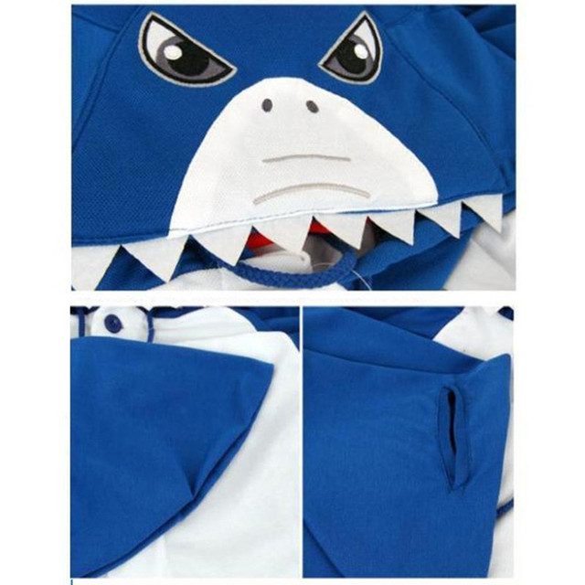 New Winter Cute Adult Animal Onesie Shark Shape Cosplay Pajamas Sleepwear Halloween Costume For Woman Christmas Gifts In Stock