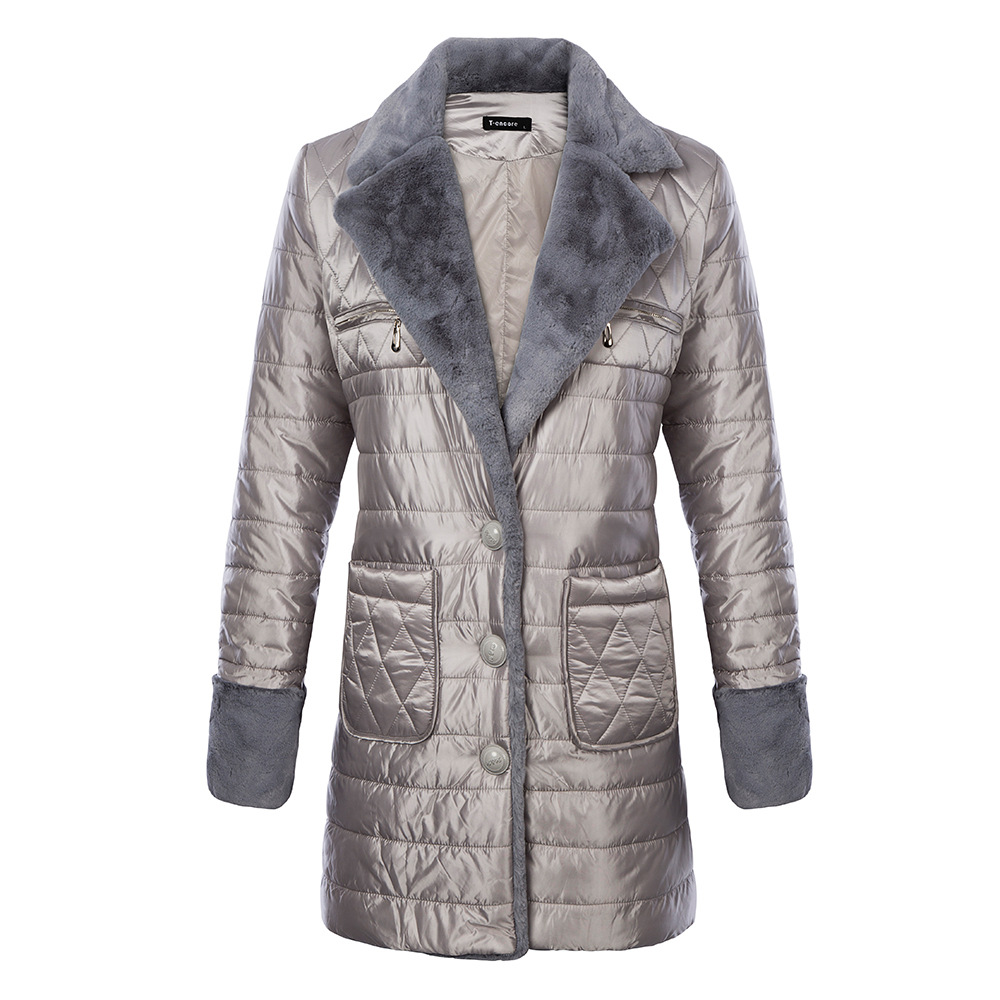 2017 Winter New Arrivals Womens Blazer Style Long Jacket Coat Plus Size Women Warm Fur Patchwork Silver Parkas Coats womens parkas with fur hoods winter warm long denim jeans velvet hooded long ladies wool coat jacket 2017 plus size blue clothes