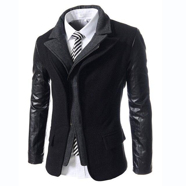 Новый осенне-Зимний мужской моды случайные Slim Fit пиджак мужская одежда марка высокое качество Кожаный Чехол костюм куртка