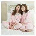 Primavera Linda Princesa Vento Pijamas Mulheres Pijama Jacquard Oco Pijamas Set M-XL Três Manga Trimestre Interior de Mel Sleepwear