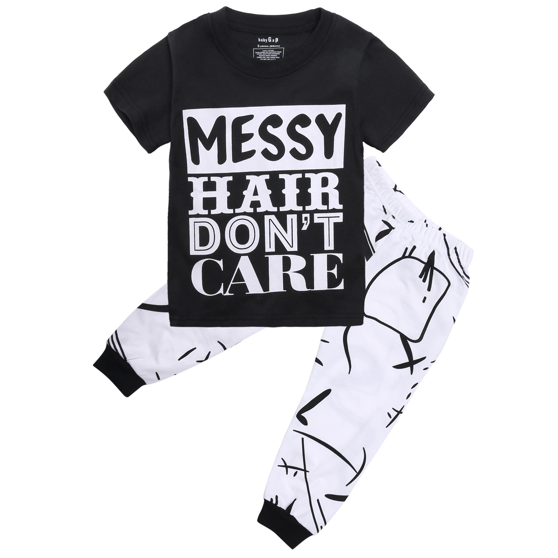 2pcs Toddler Baby Kids Boy Girl  Letter Print Tops+Pants Outfits Set Clothes