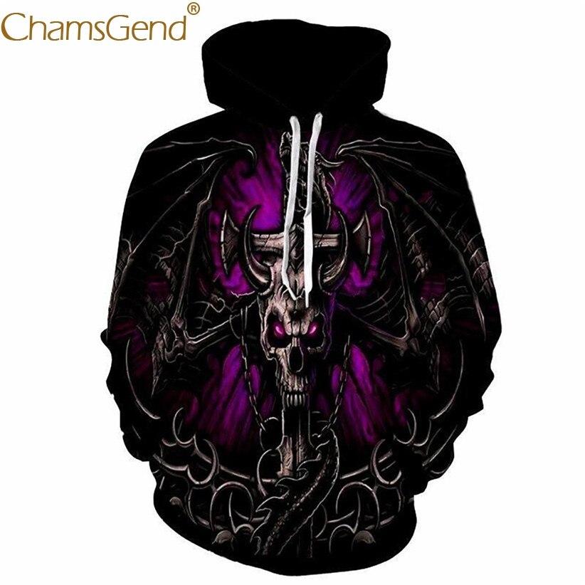 Chamsgend Hoodies Women Men 3D Sweatshirt Black Demon Skull Print Hip Hop Dance Pullover Hoodie Sweatshirts with Pocket 80109