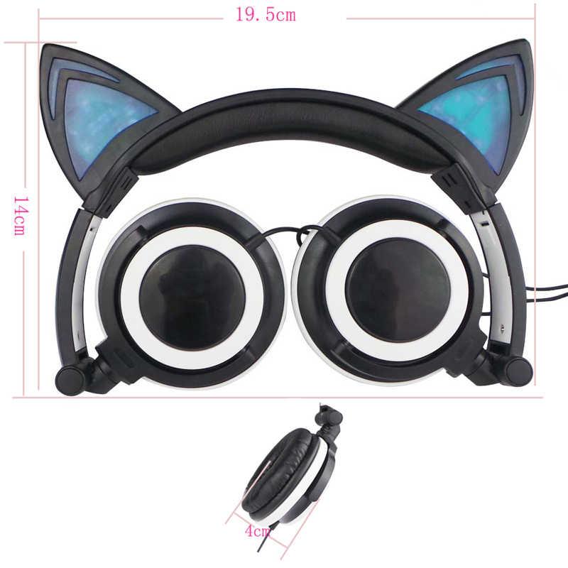 ใหม่ LED Cat หูหูฟังน่ารัก Big Gaming Luminous หูฟังชุดหูฟังพร้อมไมโครโฟนสำหรับ iPhone Samsung คอมพิวเตอร์โทรศัพท์ Headfone