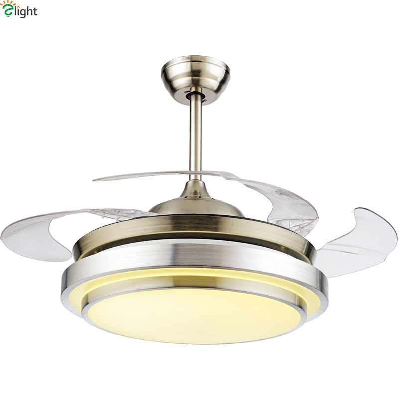 Modern Invisible Acrylic Leaf Led Ceiling Fans Lustre Chrome Steel Led Ceiling Fan Lighting Dining Room Dimmable Ceiling Fixture