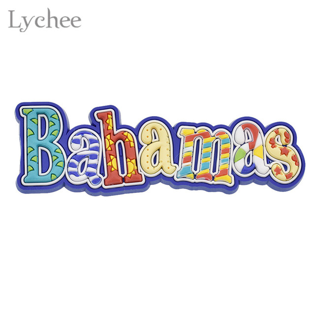 Lychee Colorful Bahamas Letters Fridge Magnet Refrigerator Magnets Sticker Tourist Souvenirs Home Decoration